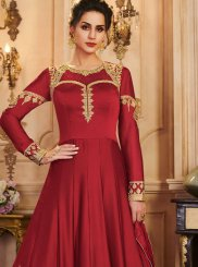 Red Party Silk A Line Lehenga Choli
