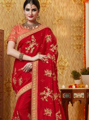 Red Party Silk Saree