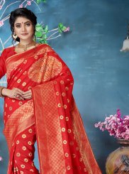Red Party Traditional Designer Saree
