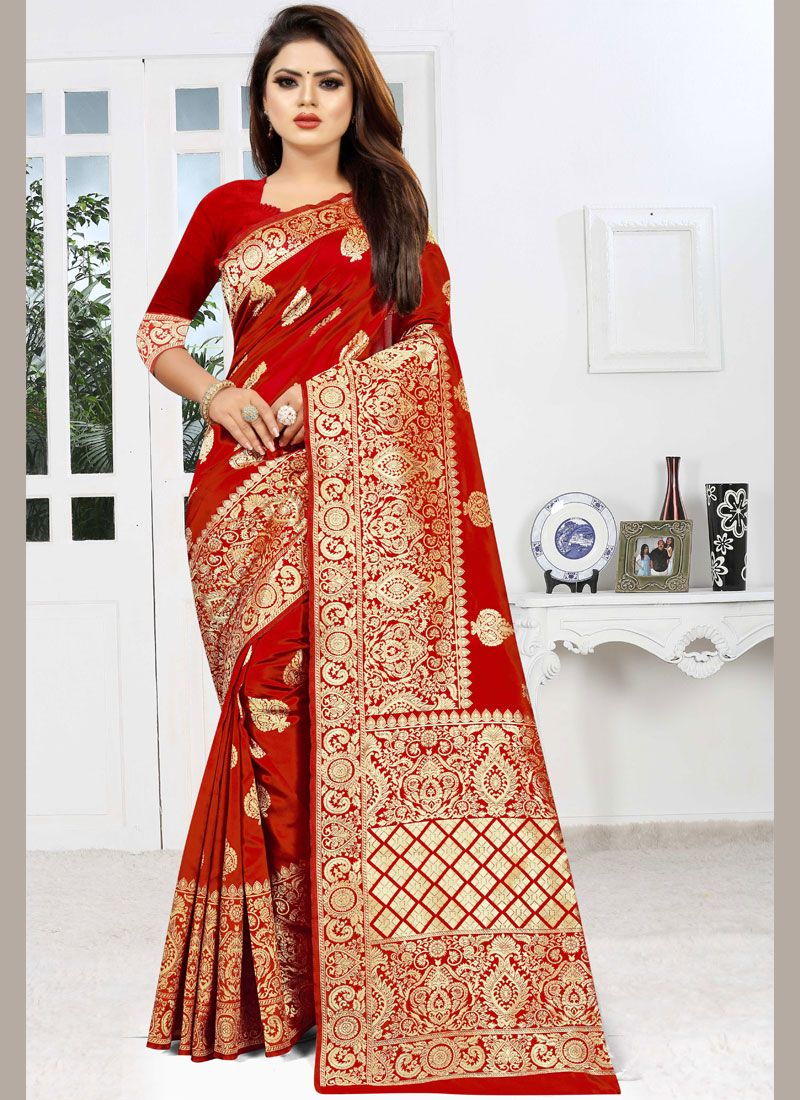 Red Party Trendy Saree