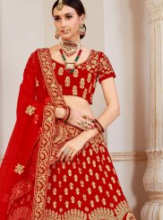 Red Party Velvet Lehenga Choli