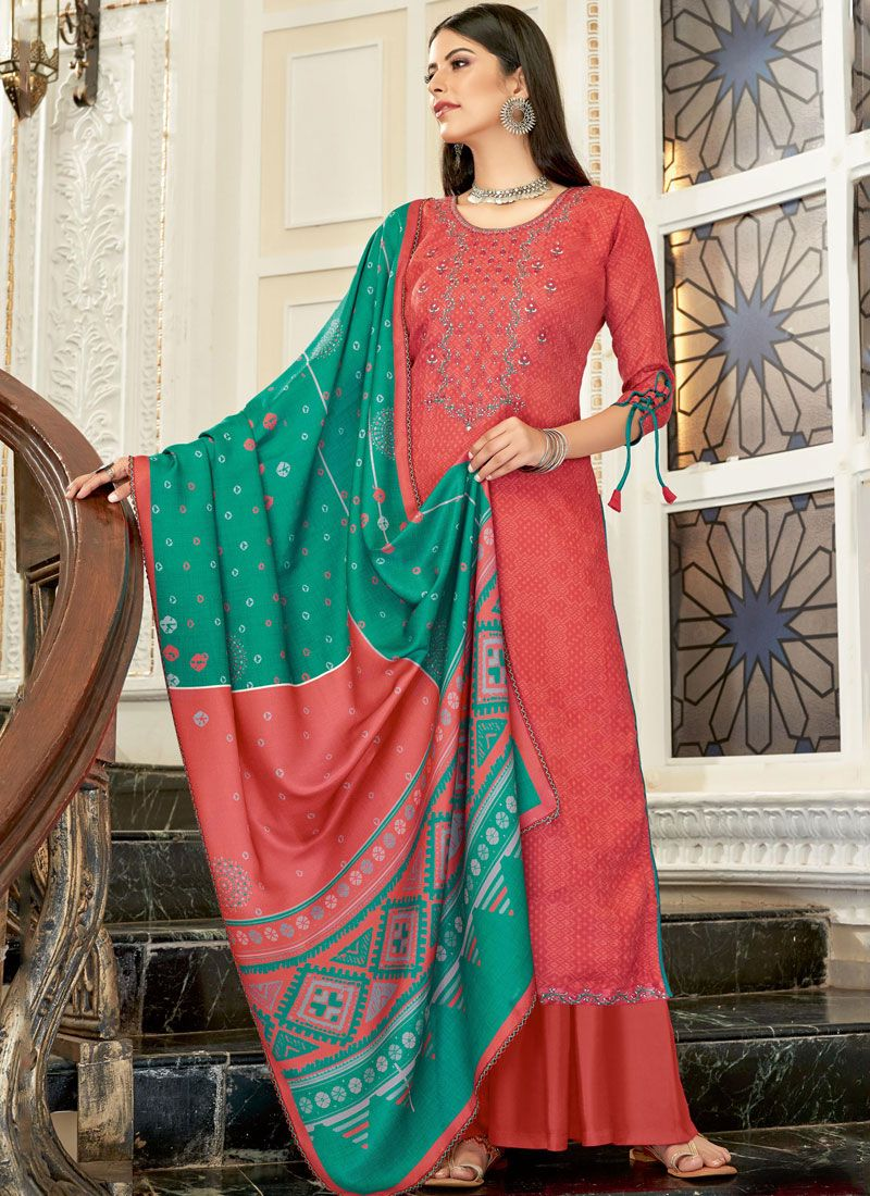 Red Pashmina Embroidered Designer Palazzo Suit