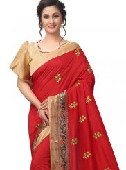 Red Patch Border Art Silk Traditional Designer Saree