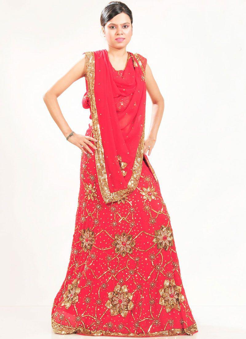 Red Patch Border Bridal Lehenga Choli