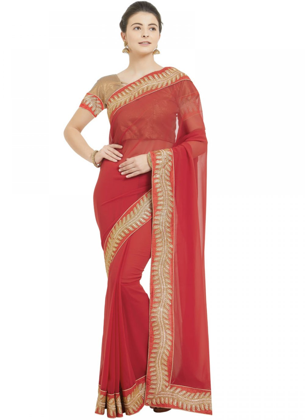 Red Patch Border Classic Saree