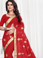 Red Patch Border Faux Georgette Classic Saree