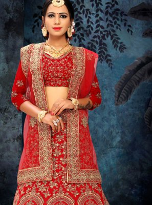 Red Patch Border Lehenga Choli