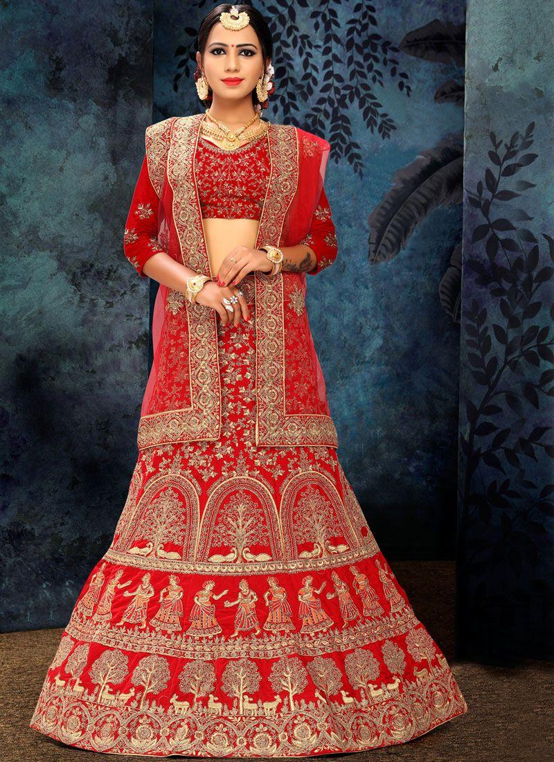 3bdcde9c18a923 Buy Red Patch Border Lehenga Choli Online : 103959 -