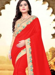 Red Patch Border Party Designer Traditional Saree