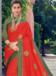 Red Patch Border Poly Silk Designer Traditional Saree