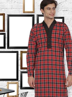 Red Patchwork Kurta Pyjama