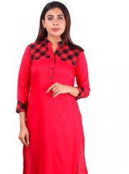 Red Plain Casual Kurti