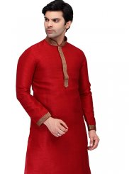 Red Plain Kurta Pyjama