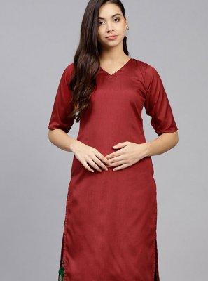 Red Plain Poly Silk Party Wear Kurti