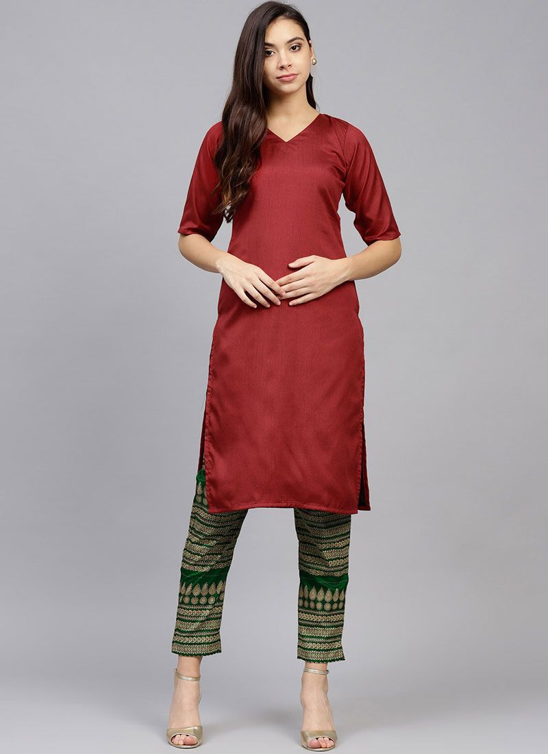 Red Plain Poly Silk Party Wear Kurti