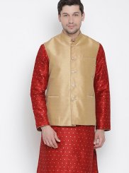 Red Plain Sangeet Kurta Payjama With Jacket