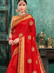 Red Poly Silk Festival Traditional Designer Saree