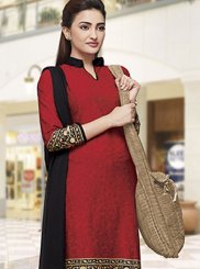 Red Print Casual Salwar Suit