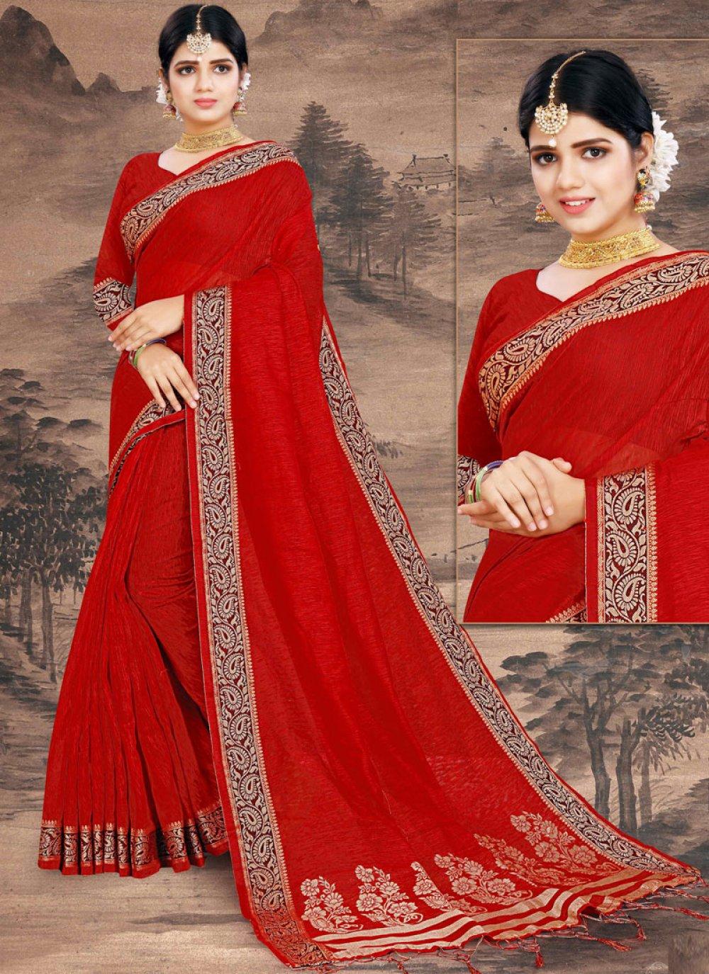 Red Print Cotton Designer Saree