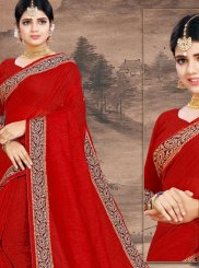 Red Print Cotton Designer Saree