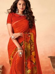 Red Printed Casual Traditional Saree