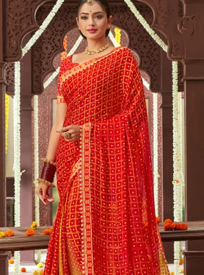 Red Printed Faux Chiffon Classic Saree