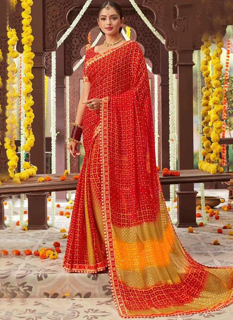 Red Printed Faux Chiffon Classic Saree