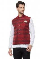 Red Printed Nehru Jackets