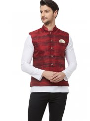 Red Printed Nehru Jackets