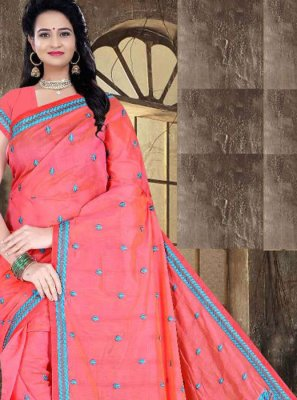 Red Printed Poly Cotton Printed Saree