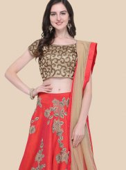 Red Raw Silk Sangeet Lehenga Choli