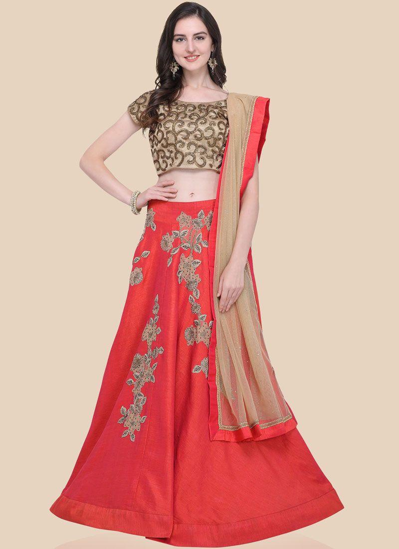 Red Raw Silk Sangeet Lehenga Choli