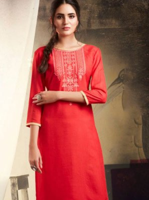 Red Rayon Embroidered Casual Kurti