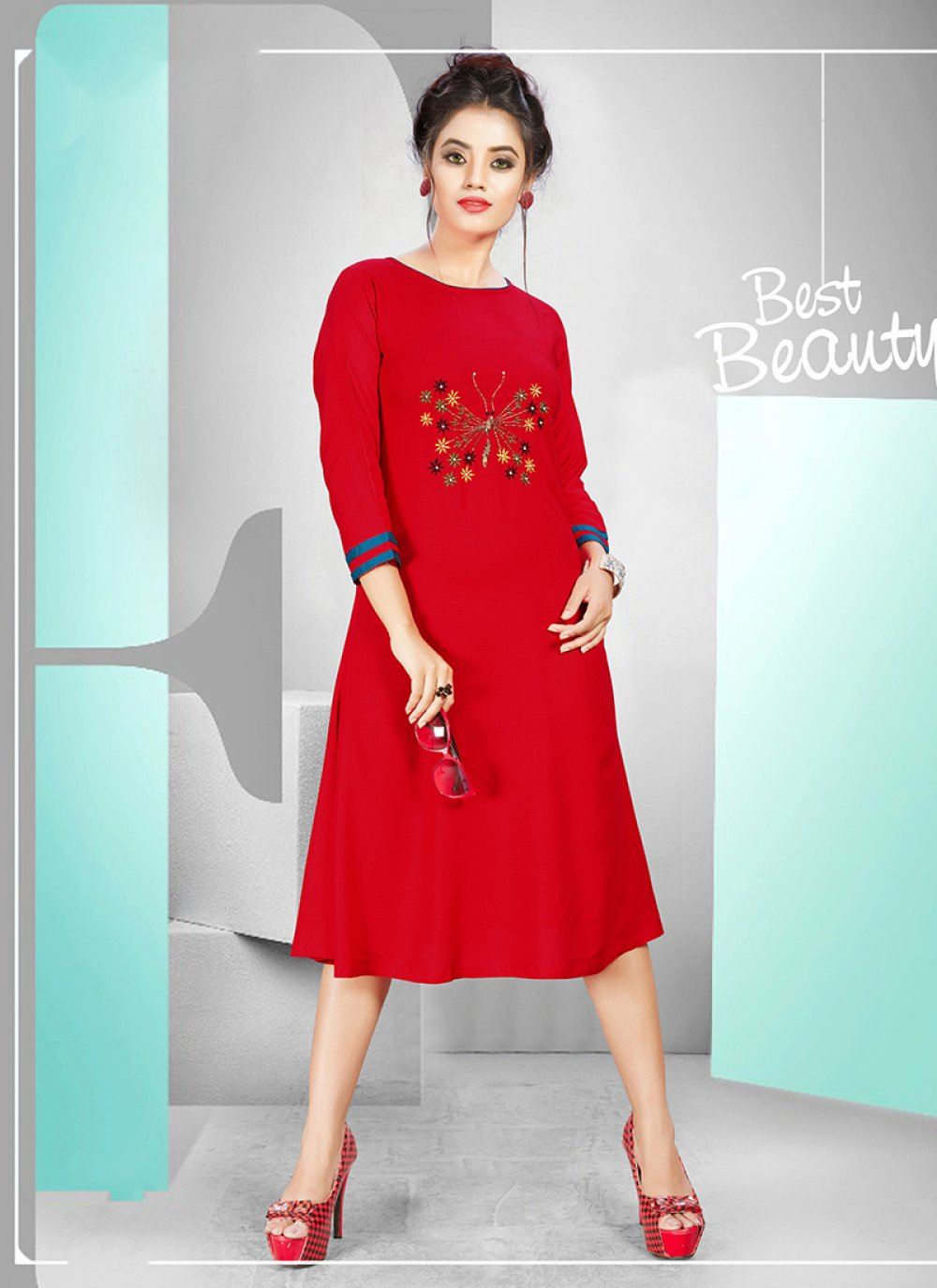 Red Rayon Festival Party Wear Kurti