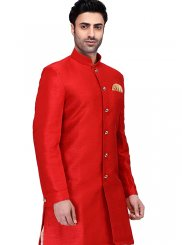 Red Reception Art Silk Kurta Pyjama