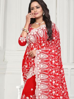 Red Resham Faux Georgette Designer Traditional Saree