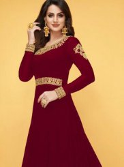 Red Resham Floor Length Anarkali Suit