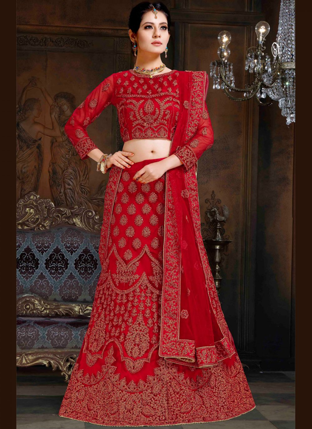 Red Resham Net Lehenga Choli