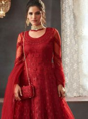 Red Resham Wedding Floor Length Anarkali Suit