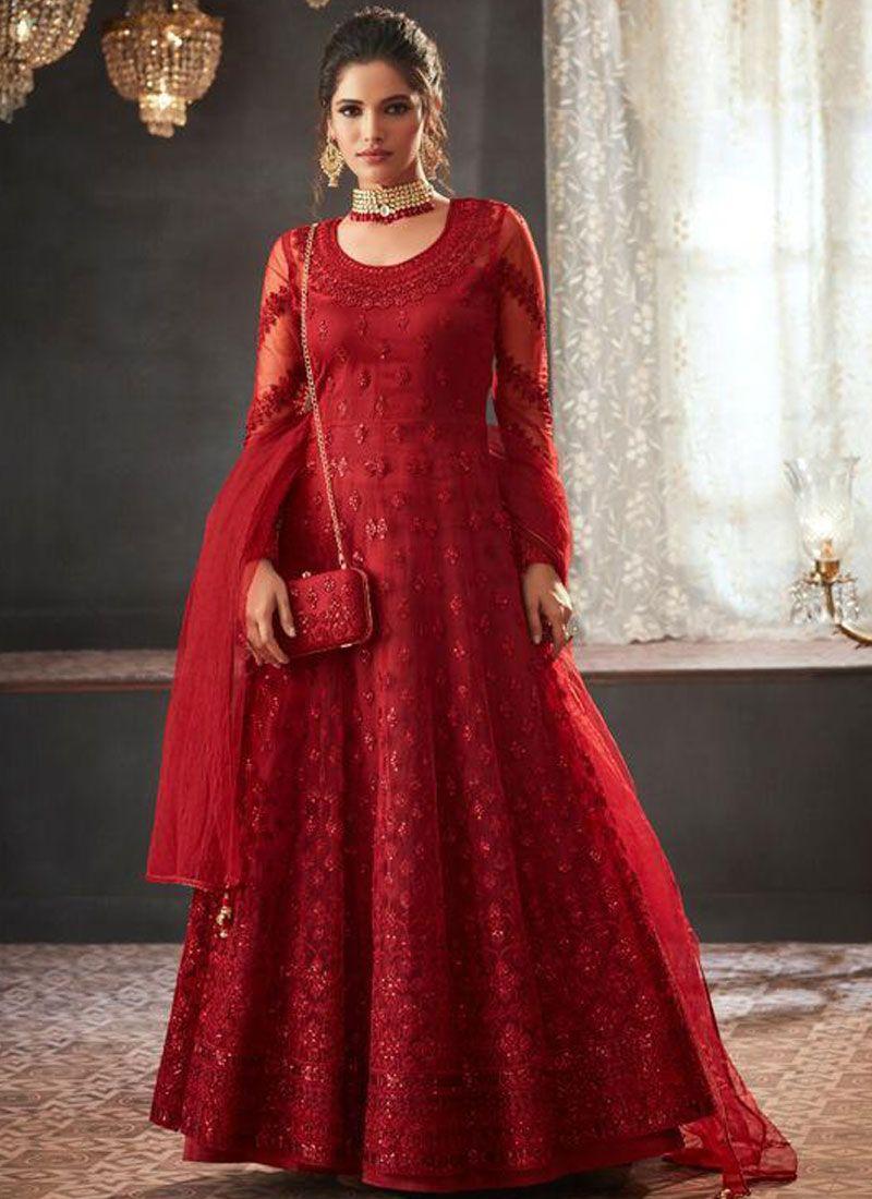 Red Resham Wedding Floor Length Anarkali Suit