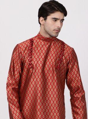 Red Sangeet Cotton Silk Kurta Pyjama