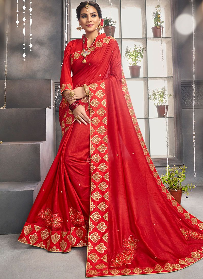 Red Sangeet Designer Saree