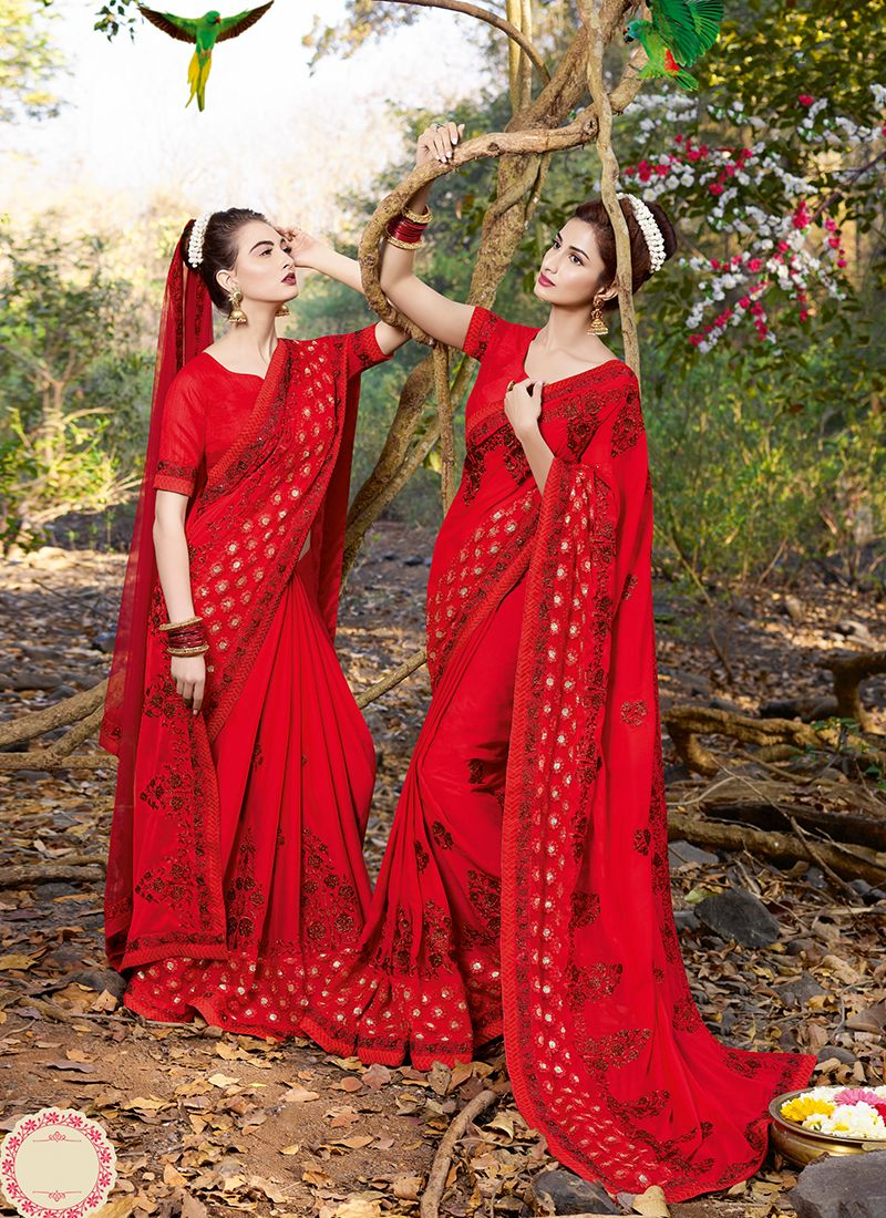Red Satin Patch Border Classic Designer Saree