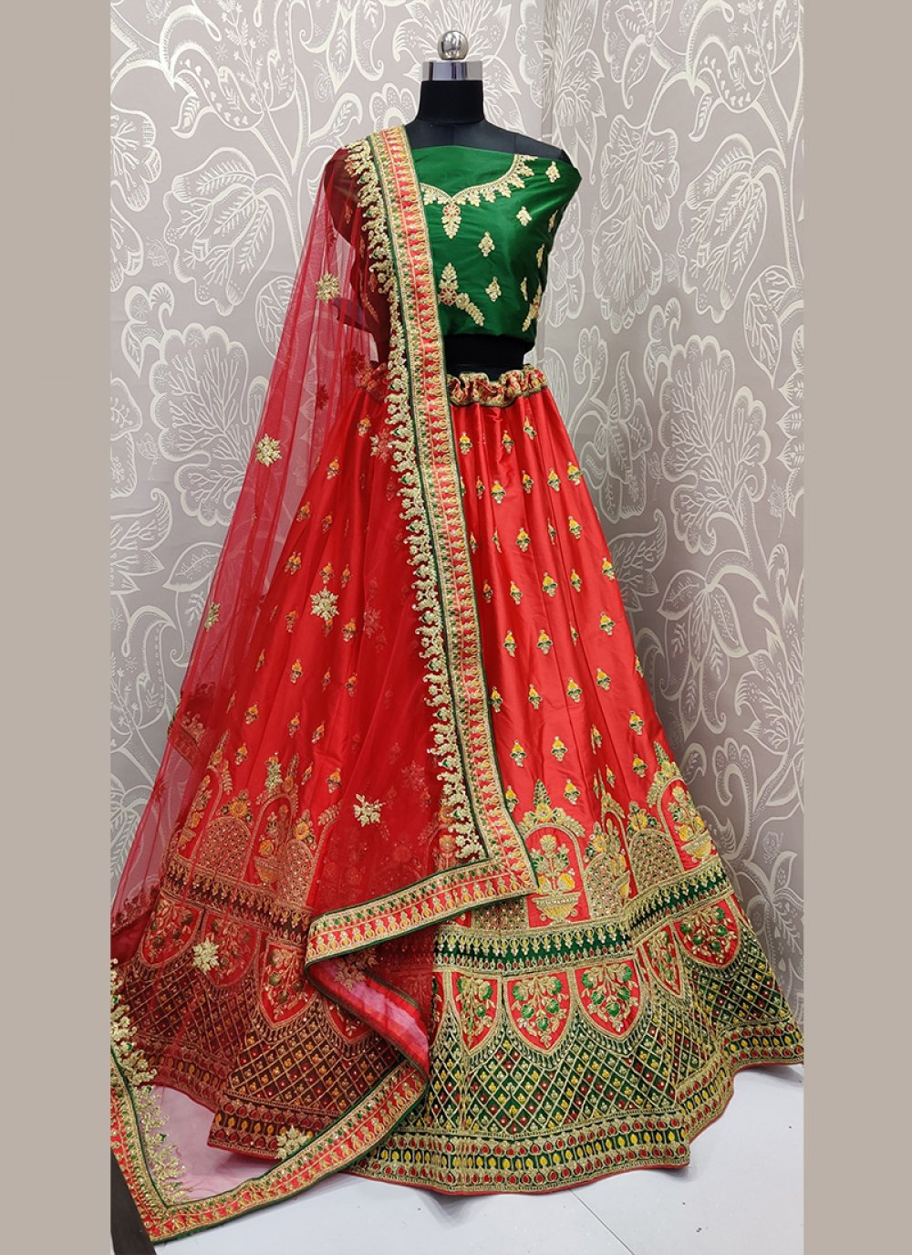 Red Satin Silk Designer Lehenga Choli