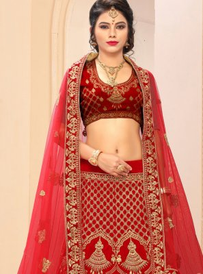 Red Satin Silk Embroidered Lehenga Choli