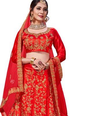 Red Satin Silk Embroidered Trendy Lehenga Choli