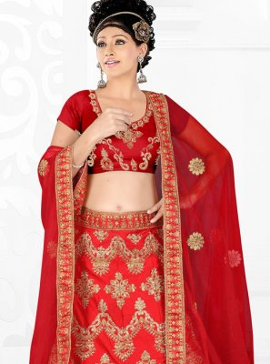 Red Satin Silk Party Trendy Lehenga Choli