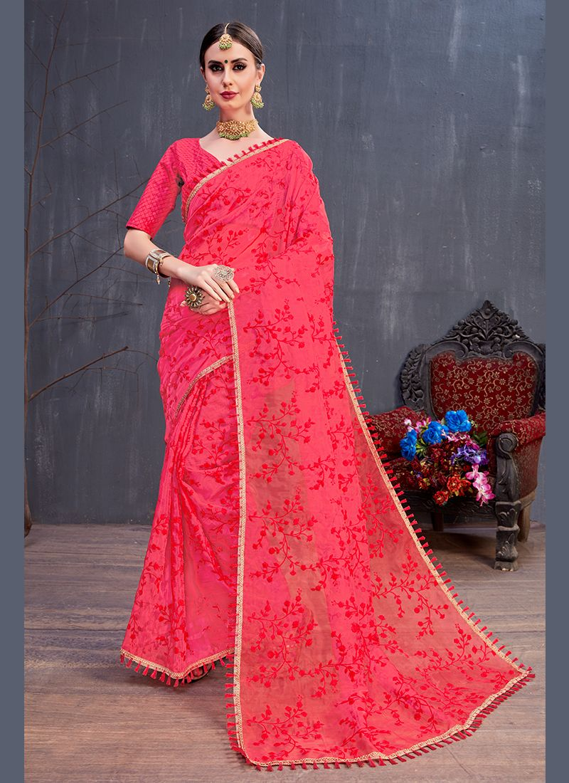 Red Sequins Traditional Saree