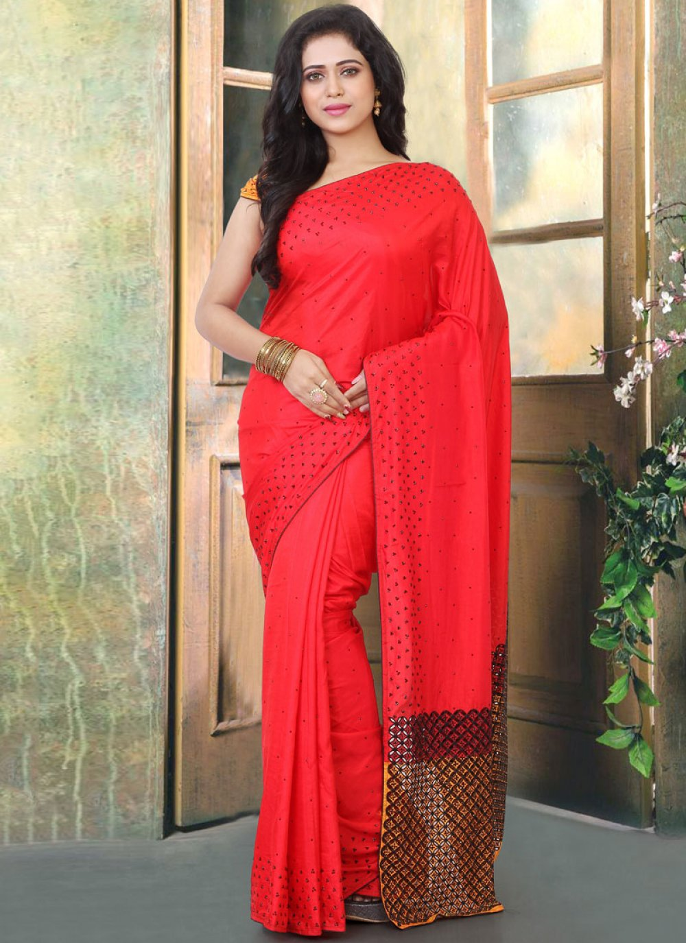 Red Silk Ceremonial Traditional Designer Saree