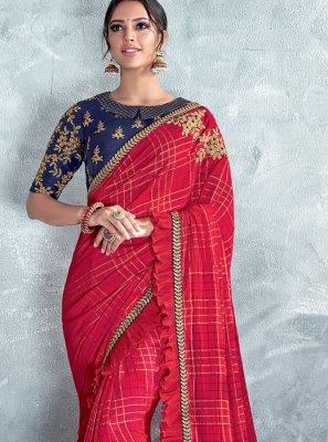 Red Silk Embroidered Classic Designer Saree